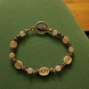 Jewelry - Faith, hope, and love bracelet with pink beads